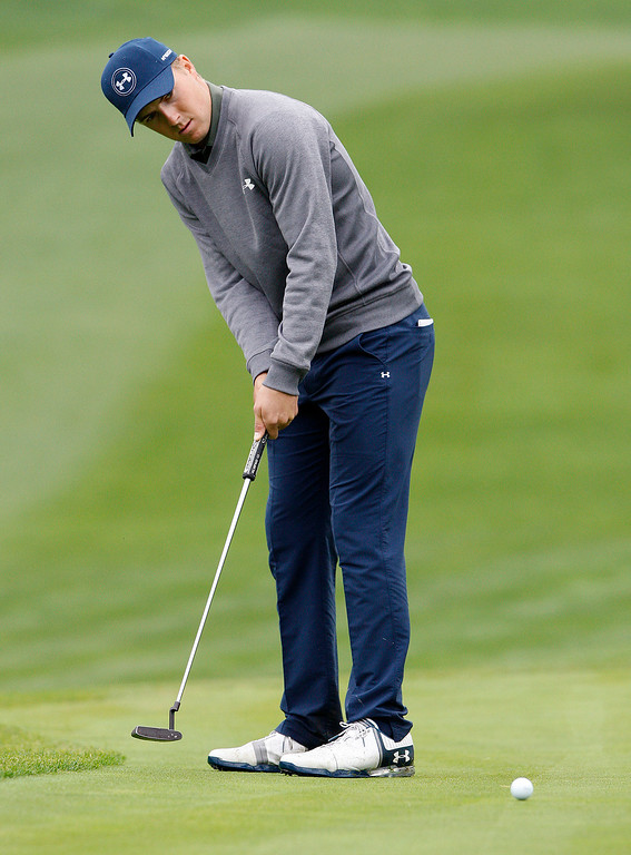 . Jordan Spieth putts on the tenth hole at Spyglass Hill during the second round of the AT&T Pebble Beach Pro Am on Friday, Feb. 10, 2017.   (Vern Fisher - Monterey Herald)