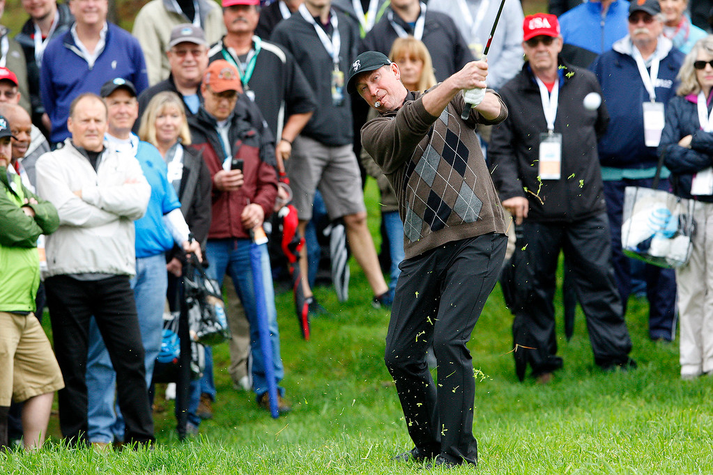 . Wayne Gretzky hits from the rough on the tenth hole at Spyglass Hill during the second round of the AT&T Pebble Beach Pro Am on Friday, Feb. 10, 2017.   (Vern Fisher - Monterey Herald)