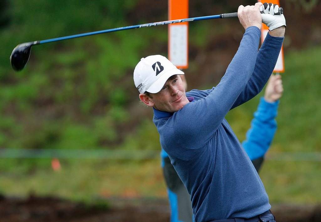 . Brandt Snedeker tees off on the first hole at Spyglass Hill during the second round of the AT&T Pebble Beach Pro Am on Friday, Feb. 10, 2017.   (Vern Fisher - Monterey Herald)