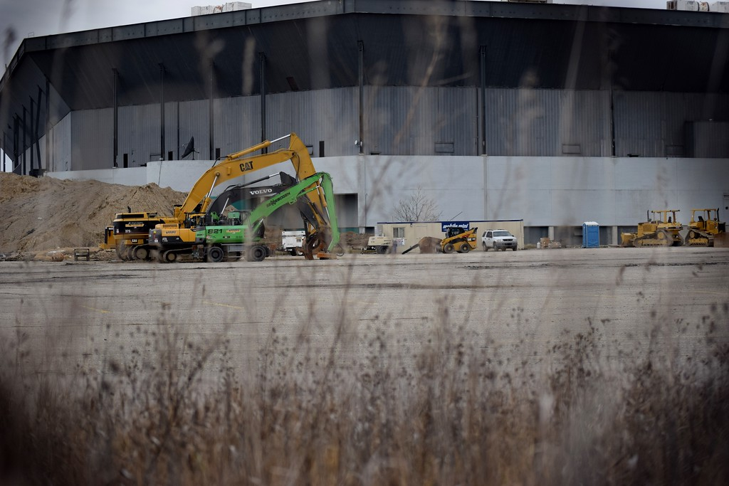 . The Pontiac Silverdome, just hours before the second implosion on Monday, Dec. 4, 2017.