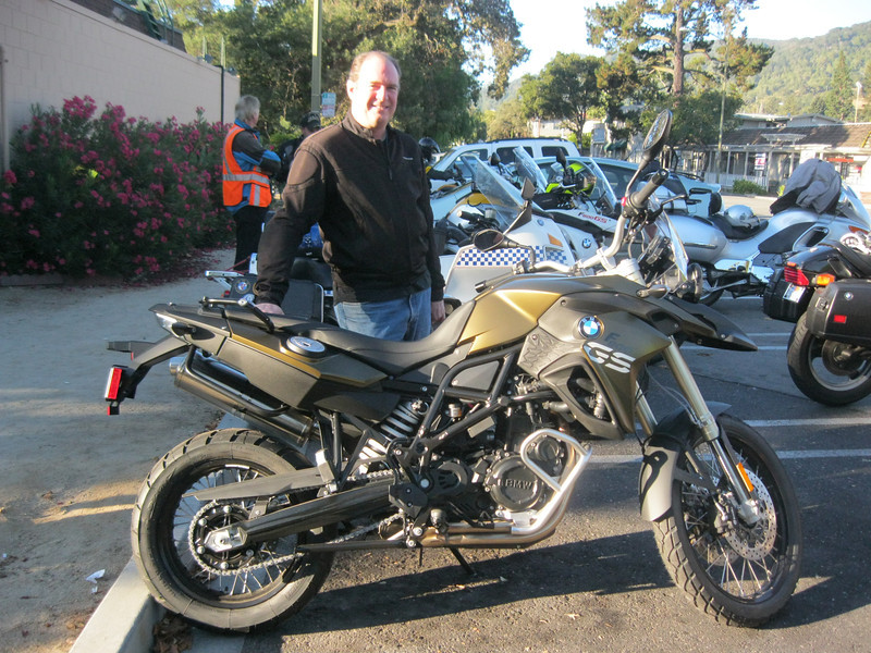 Jim Luca's new bike. Jim is one of the first recipients of the 2013 BMW F800GS model line. Many changes in the new model, including new switches, a new front brake/reservoir combo, rear shock and Michelin tires.