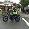Suresh riding his electric bike.