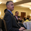"""Lowell House, Inc. held their second annual breakfast to """"Celebrate Recovery"""" at UMass Lowell Inn & Conference Center on November 28, 2016. John Garvis with Garvis Ford listens to speakers at the event. SUN/JOHN LOVE"""