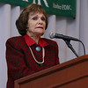 """Lowell House, Inc. held their second annual breakfast to """"Celebrate Recovery"""" at UMass Lowell Inn & Conference Center on November 28, 2016. Katharine """"Kitty"""" Dukakis, the former First Lady of MA, addresses the crowd at the event. SUN/JOHN LOVE"""