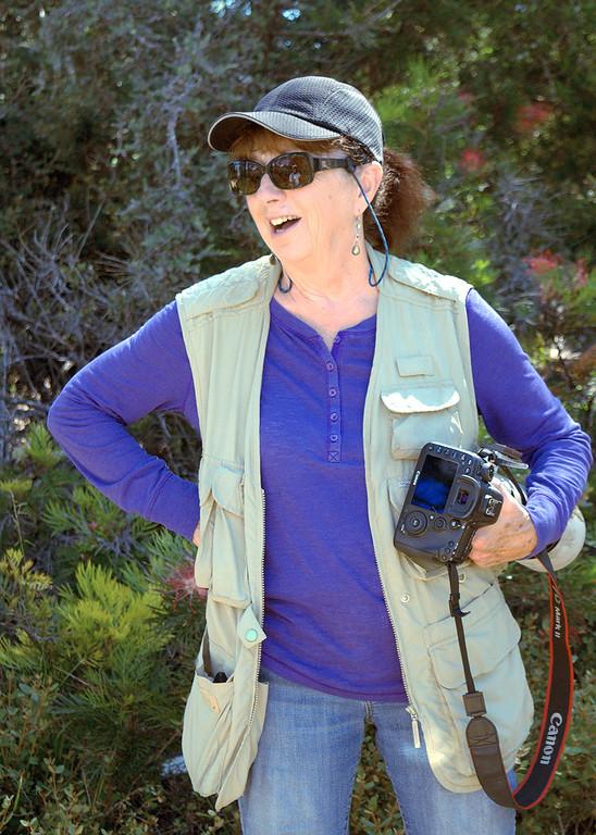 . Dorris Sharrock, one of many bird lovers visiting to photograph a rare white hummingbird at the UC Santa Cruz Arboretum and Botanic Garden. (Lucjan Szewczyk -- Santa Cruz Sentinel)