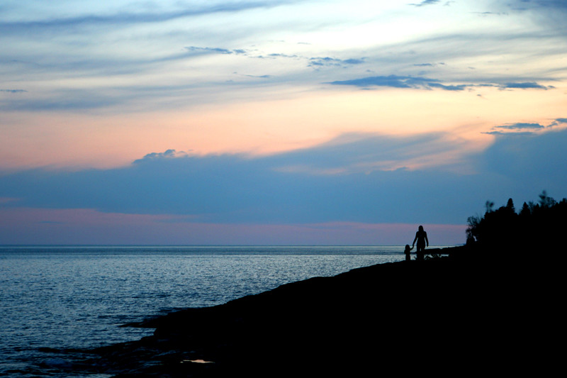 Mother and child sunset, Lutsen MN