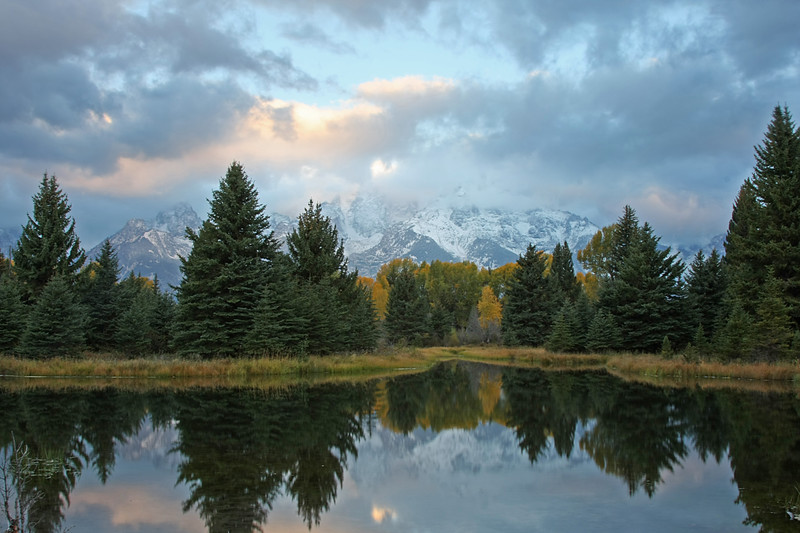 Schwabacher's Landing at sunrise after snow storm