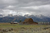Mormon row barn receding snow storm