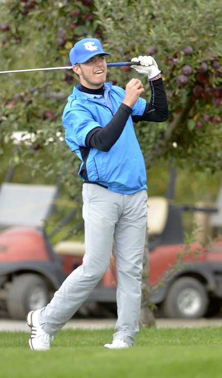 . Ichabod Crane\'s Trevor Wolfe grimaces after his tee shot off the 10th Friday afternoon during the Section 2 state qualifier at Orchard Creek Golf Course in Altamont.
