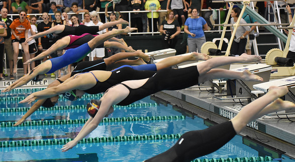 STAN HUDY - SHUDY@DIGITALFIRSTMEDIA.COM Swimmers take off from the blocks at the start of the 100-yard freestyle Saturday afternoon during the Section II DI swimming championships at the Shenendehowa Aquatics Center, Nov. 5, 2016.