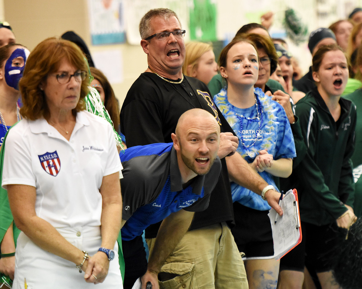 STAN HUDY - SHUDY@DIGITALFIRSTMEDIA.COMThe emtions of the pool deck at the Section II Division I finals Saturday afternoon, our stalwart judge, Saratoga Springs coach Josh Muldner cheering and Ballston Spa coach Ted Snyder anguishing.