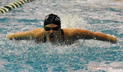 STAN HUDY - SHUDY@DIGITALFIRSTMEDIA.COM Shenendehowa sophomore Shauna Killane breaks the surface during the butterfly leg of the 200-yard medley relay duirng the Section II Divsion I swimming and diving championships Saturday, Nov. 5, 2016.