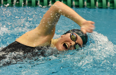 STAN HUDY - SHUDY@DIGITALFIRSTMEDIA.COM Shenendehowa senior Riley Kowalczyk swims the 100-yard freestyle event Saturday afternoon during the Section II DI swimming championships at the Shenendehowa Aquatics Center, Nov. 5, 2016.