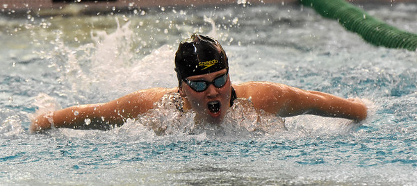 STAN HUDY - SHUDY@DIGITALFIRSTMEDIA.COM Saratoga Springs senior Victoria Breslin swims in the 100-yard butterfly final at the Section II Div sion I swimming and diving championships Saturday, Nov. 5, 2016.