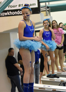STAN HUDY - SHUDY@DIGITALFIRSTMEDIA.COM Saratoga Springs sophomore diver Jennifer Van Horne stands on the blocks in her spirit costume as the diving awards are announced at the Section II Divsion I swimming and diving championships Saturday, Nov. 5, 2016.