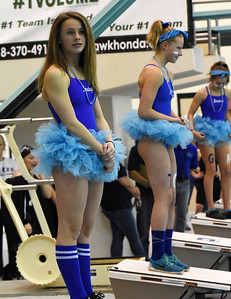 STAN HUDY - SHUDY@DIGITALFIRSTMEDIA.COM Saratoga Springs sophomore diver Felicity Ryan stands on the blocks in her spirit costume as the diving awards are announced at the Section II Divsion I swimming and diving championships Saturday, Nov. 5, 2016.