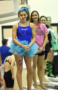 STAN HUDY - SHUDY@DIGITALFIRSTMEDIA.COM Saratoga Springs freshman diver Adelle Feeley stands on the blocks in her spirit costume as the diving awards are announced at the Section II Divsion I swimming and diving championships Saturday, Nov. 5, 2016.