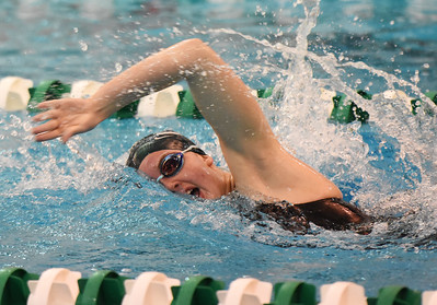 STAN HUDY - SHUDY@DIGITALFIRSTMEDIA.COM Shenendehowa junior Vicky Silaika swims in the 500-yard freestyle event Saturday during the Section II Division I swimming championships at the Shenendehowa Aquatics Center, Nov. 5, 2016.