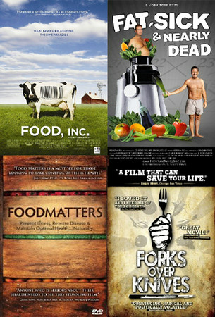 "Health & Nutrition: This is obviously 4 different movies but they all compliment each other. A good reminder and motivation for how important the food we eat is. ""Food, Inc.""   ""Far, Sick & Nearly Dead""   ""FoodMatters""   ""Forks over Knives"""