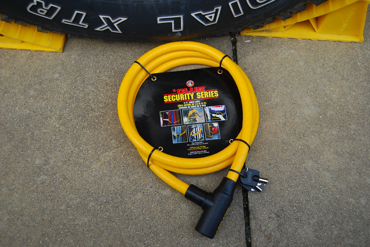 In addition to the Hitch lock (see Hitch Lock gellery) I've added cable locks to both tires.
