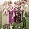 Brunswick, Maine in 1956: Anna Sederquist holding granddaughter, Helen, Barbara Way, Carole Sederquist, Mary Sederquist being held by Aunt Marjorie Chastaine, and Donna Sederquist being held by cousin, Alan Chastaine.