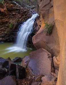 Seasonal waterfall, Rattlesnake Canyon. Rattlesnake Canyon flows into Woods Canyon between Sedona and the i-17