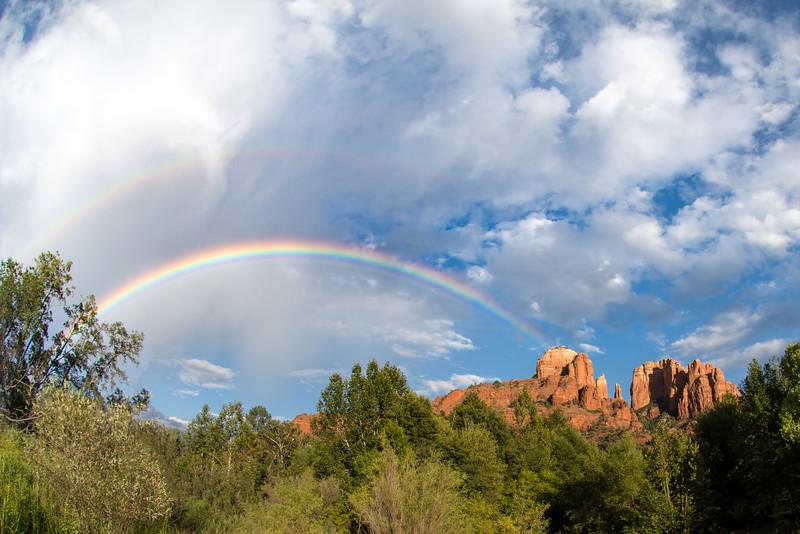 Rainbow near Cathedral Rock in Sedona, Arizona