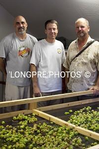 Drying 5 big trays of Hops.  Brad, Chris, Don.