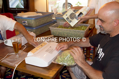 Vacuum packing 2 oz packages of Hops