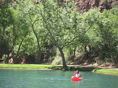 Video, kayaking on lake Los Lagos.  There is another smaller lake below this one.