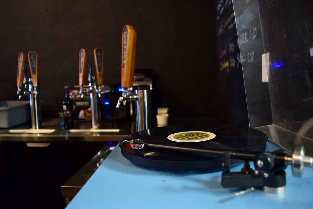 . Music is played by record at Exferimentation Brewing Co., 7 Saginaw St. in downtown Pontiac, on Thursday, Feb, 9, 2017.