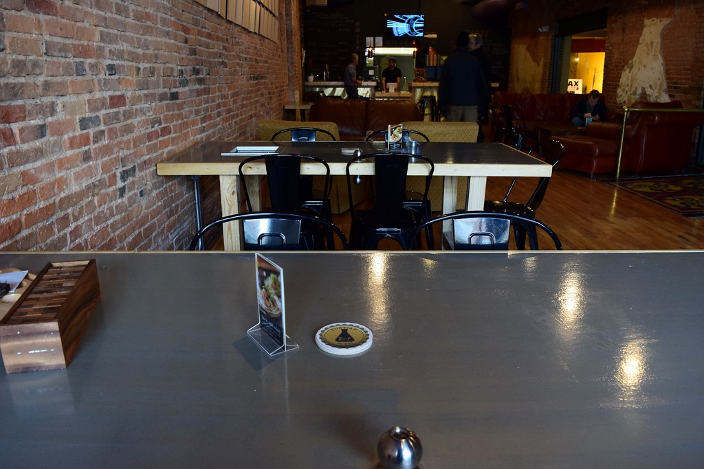 . Doors become tables at Exferimentation Brewing Co., 7 Saginaw St. in downtown Pontiac, on Thursday, Feb, 9, 2017.