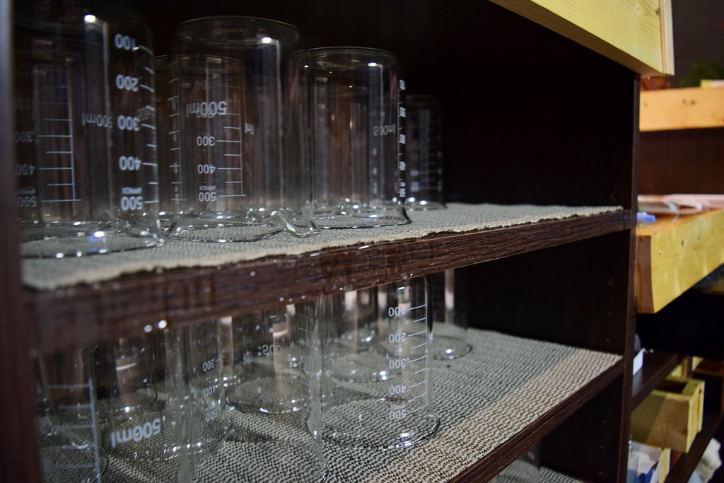 . Beakers serve as glasses at Exferimentation Brewing Co., 7 Saginaw St. in downtown Pontiac, on Thursday, Feb, 9, 2017.