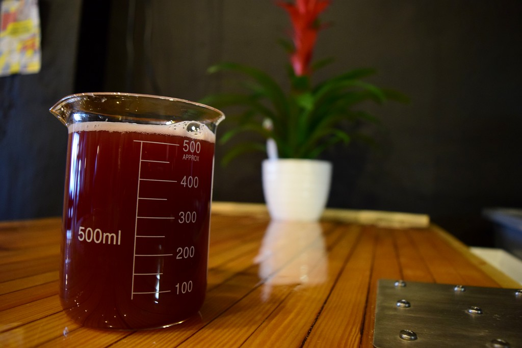 . A Pink Tickler, red ale with hibiscus brewed in, sits on the front counter at Exferimentation Brewing Co., 7 Saginaw St. in downtown Pontiac, on Thursday, Feb, 9, 2017.