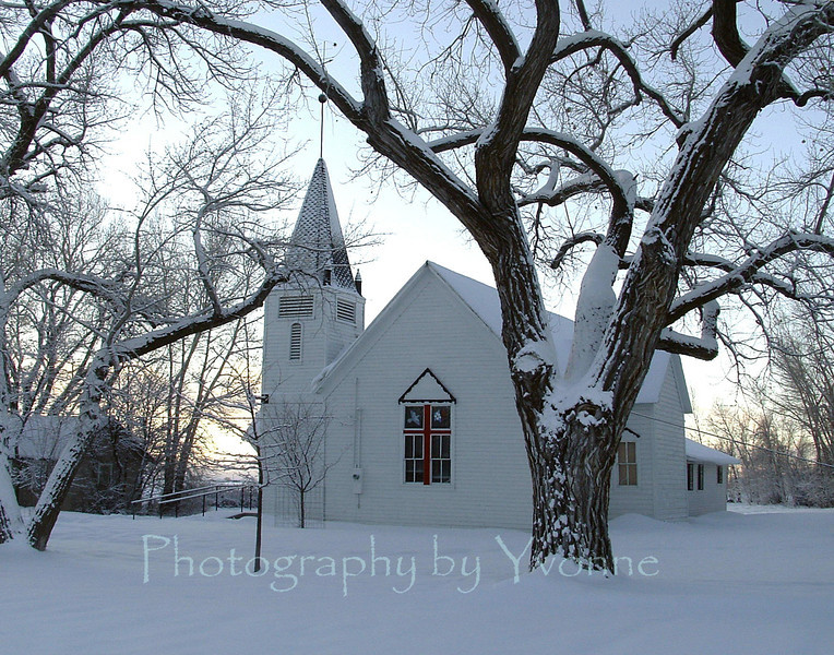 The lighting was just right one morning on my way to work. Florida Mesa church, La Plata County