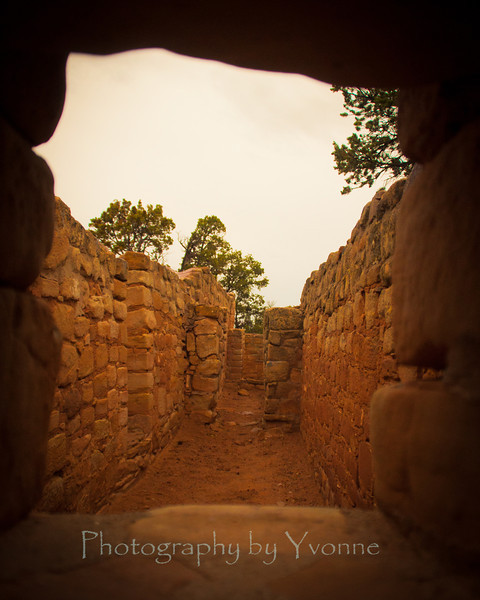 Looking though a stone window at Sun Temple.
