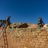 Workers stabilize the walls at Sun Temple