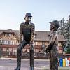 Bronze sculpture at Whitefish MT depot