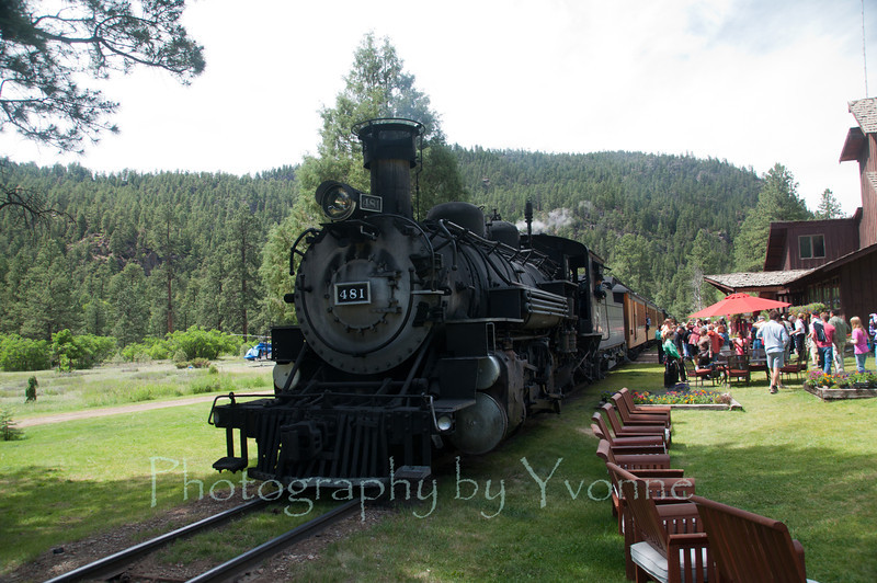 The Durango-bound train stop at Tall Timber to board passengers
