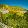 US Highway 550 on south side of Molas Pass. (Can you see that speck of a vehicle up there along the guardrail?) 9/16/12