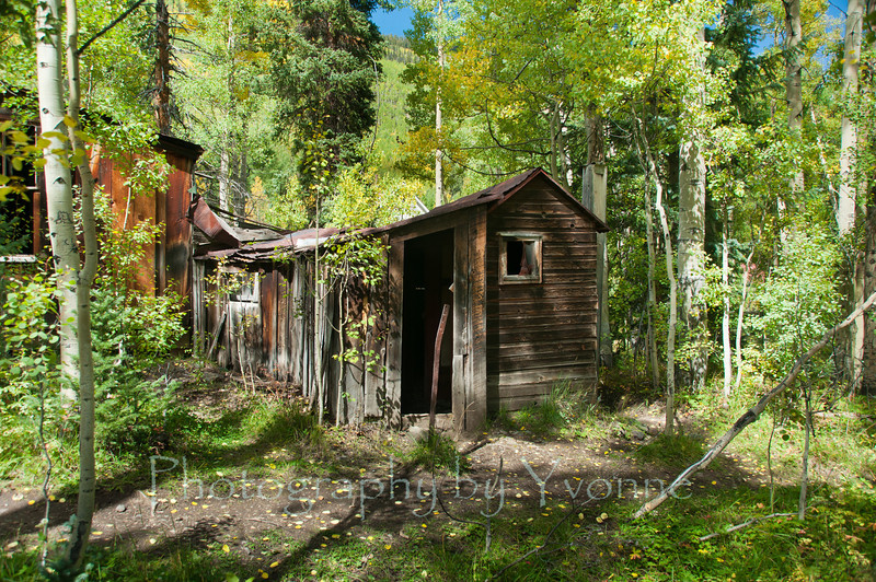 An outhouse, attached to the main house in the ghost town of Ironton CO. 9/21/13 Ironton was a major transportation junction between Red Mountain and Ouray and had a peak population of over 1000 and had two trains arriving daily from Silverton. The town had residents until the 1960s.