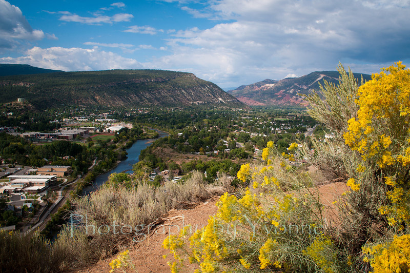 Northward view of Durango from Fort Lewis College Rim Drive, Durango CO 9/9/12