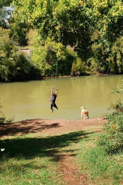 Summer swing into the Animas River