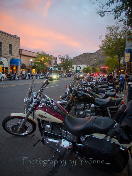 Sunset on Main Avenue during the 2012 Motorcycle Rally, Durango, CO