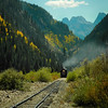 D&SNGRR train northbound toward Silverton, CO 9/16/12