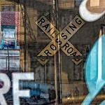 Railtoad Crossing Window Street View Reflections