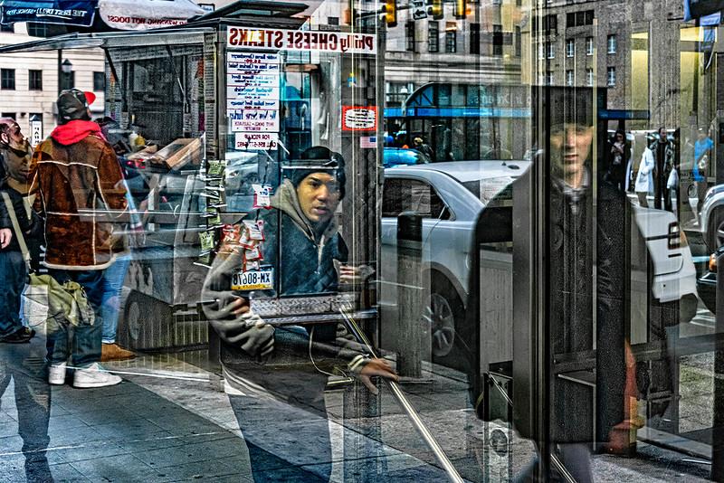 Food Cart, Subway Entrance, Street Traffic