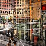 Buildings, Vehicles, Pedestrians, Reflections