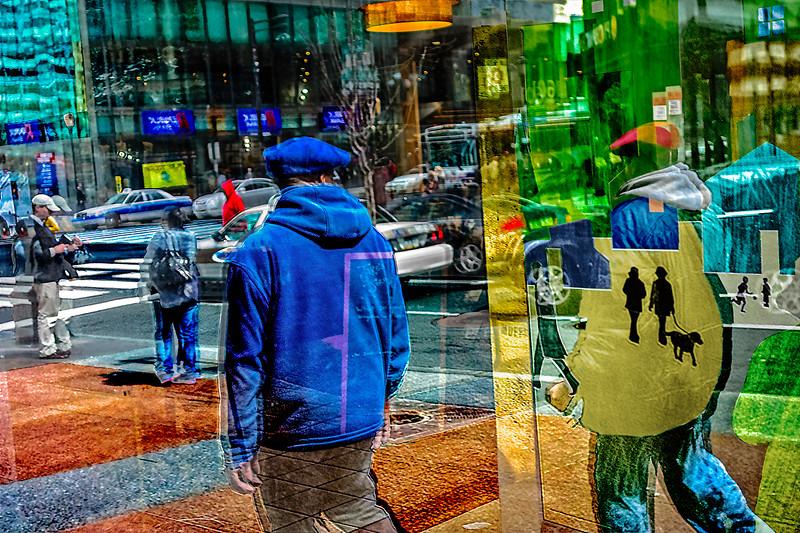 Blue Hoodie, Bus Stop, Walking the Dog