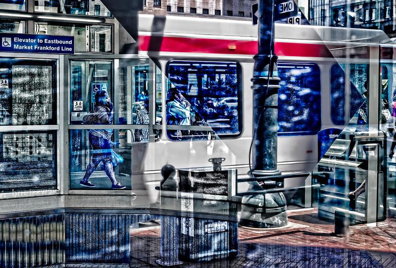Elevator, Bus, Sidewalk
